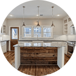 Kitchen Islands with Cantilevered Seating in Houston
