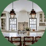 Repurposed antique lighting in kitchen remodel in Houston