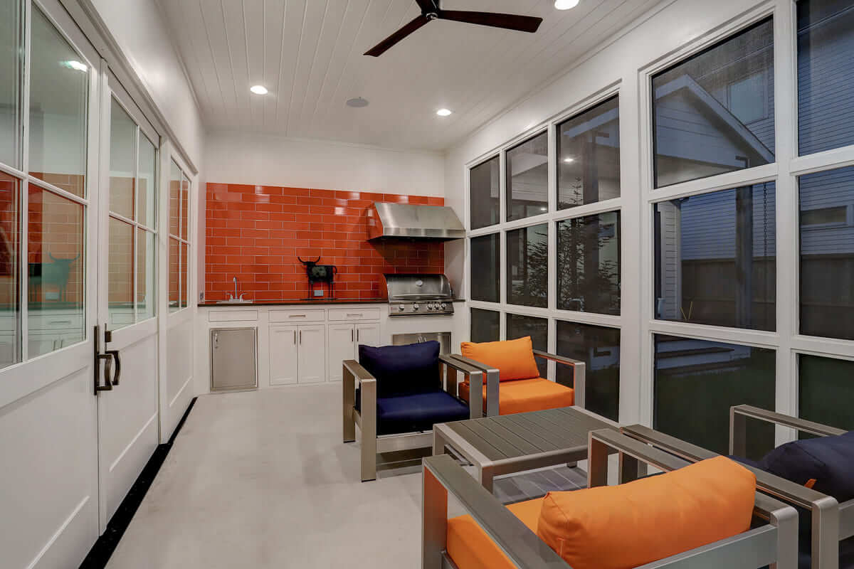 Three seasons room in custom home in Houston, Texas